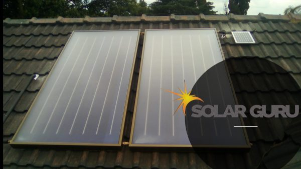 Solar geyser flat plate, side angle house roof